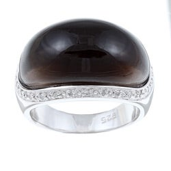Kabella Sterling Silver Smoky Quartz and Cubic Zirconia Dome Ring