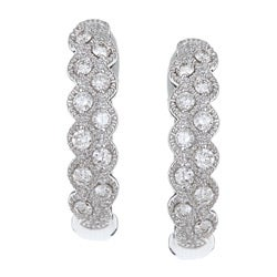 Eloquence 14k White Gold 1/3ct TDW Diamond Fashion Hoop Earrings (H-I, I1-I2)