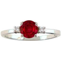 10k Gold February Red Garnet 1/50ct TDW Diamond Ring (G-H, SI2-I1)