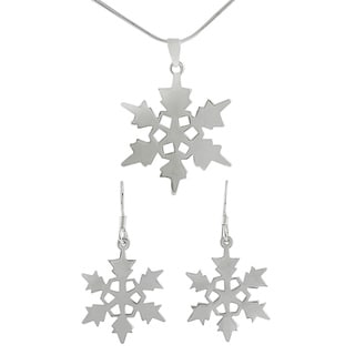 Tressa Sterling Silver Snowflake Earrings/ Necklace Set