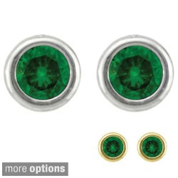 10k Gold Birthstone Bezel-set Designer Stud Earrings