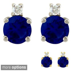 10k Gold Birthstone and Diamond Stud Earrings