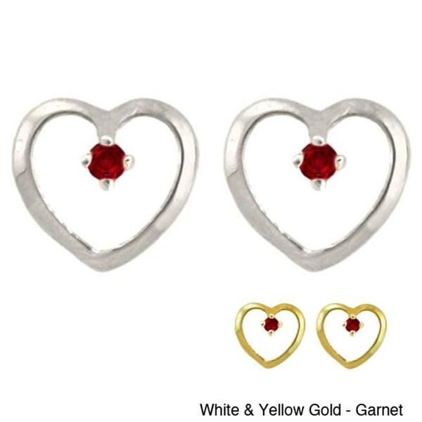 10k Gold Petite Designer Birthstone Heart Earrings