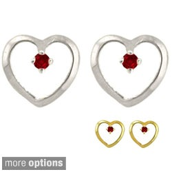 10k Gold Petite Designer Birthstone Heart Earrings