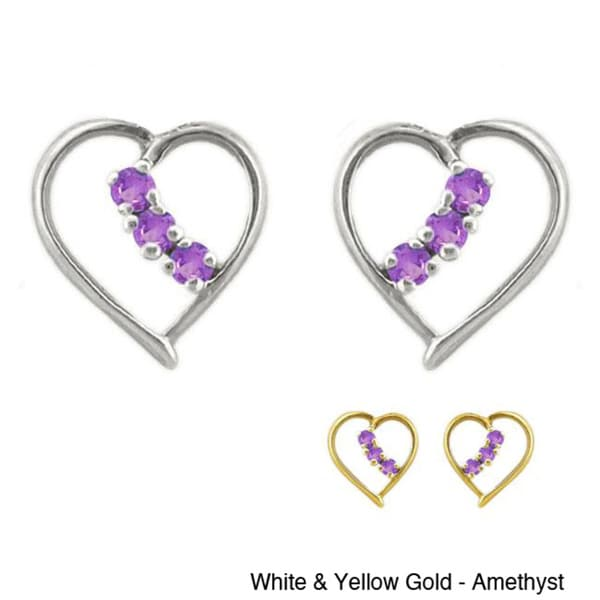 10k Gold Birthstone Prong-set Heart Designer Earrings