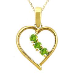 10k Gold Large Designer August Birthstone Peridot 3-Stone Heart Necklace