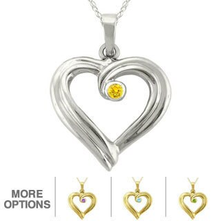 10k Gold Large Designer Birthstone Ribbon Heart Necklace