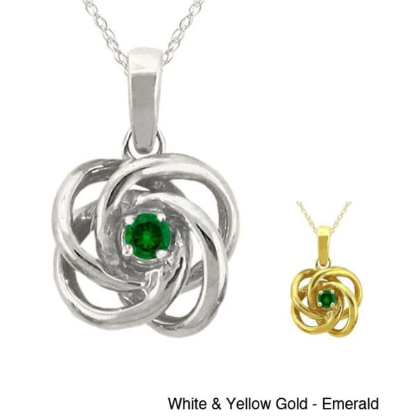 10k Gold Birthstone Love Knot Necklace