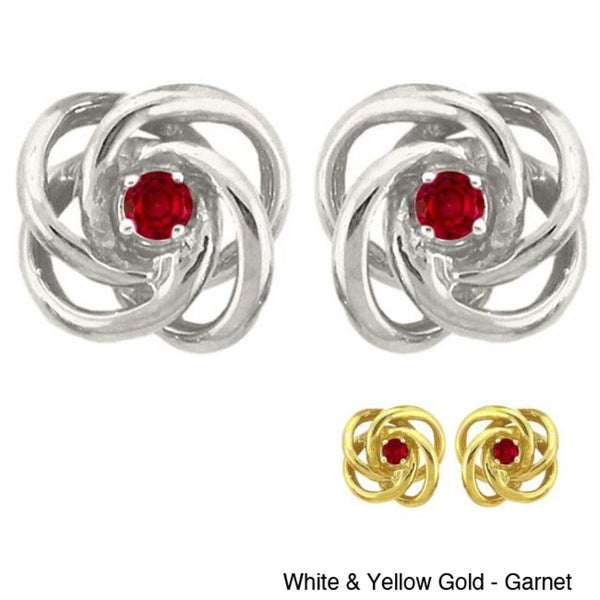 10k Gold Birthstone Love Knot Stud Earrings
