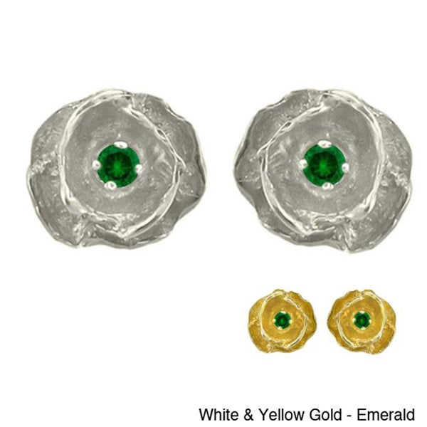 10k Gold Birthstone Stud Earrings