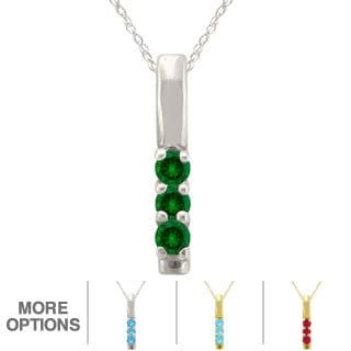 10k Gold Birthstone 3-stone Necklace