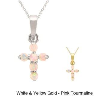 10k Gold Birthstone Cross Necklace