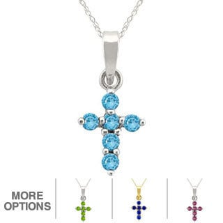 10k Gold Birthstone Cross Necklace