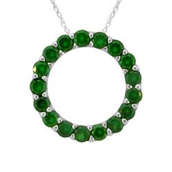 10k Gold May Birthstone Small Prong-set Created Emerald Circle Necklace