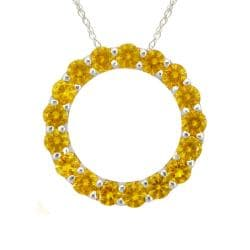 10k Gold November Birthstone Small Prong-set Citrine Circle Necklace