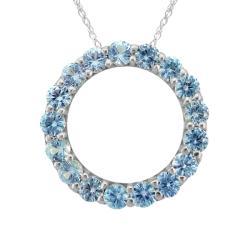 10k Gold December Birthstone Small Swiss Blue Topaz Circle Necklace