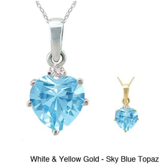 10k Gold Birthstone and 1/50ct TDW Diamond Heart Necklace (G-H, SI1-SI2)