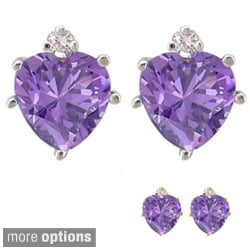 10k Gold Gemstone and Diamond Birthstone Heart Earrings