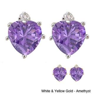 10k Gold Gemstone and Diamond Birthstone Heart Earrings