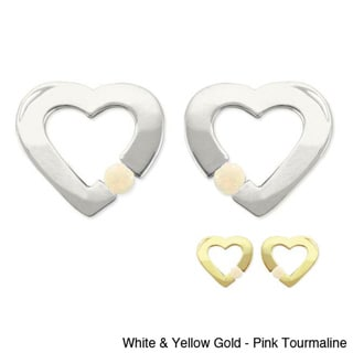 10k Gold Birthstone Contemporary Heart Earrings