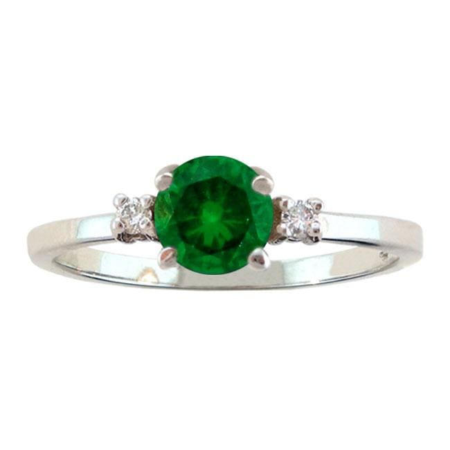 10k Gold May Birthstone Created Emerald and Diamond Ring