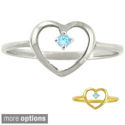 10k Gold Birthstone Petite Designer Heart Ring