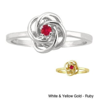 10k Gold Birthstone Designer Love Knot Ring