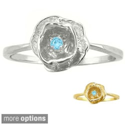 10k Gold Birthstone Designer Flower Ring