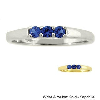 10k Gold Birthstone Designer 3-stone Ring