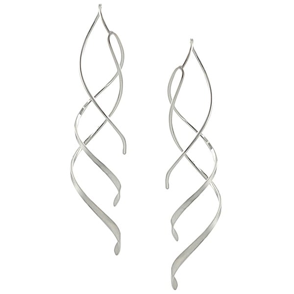 Journee Collection Sterling Silver Spiral Dangle Earrings