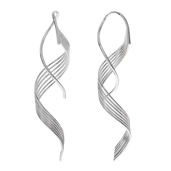 Journee Collection Sterling Silver Six-strand Spiral Earrings