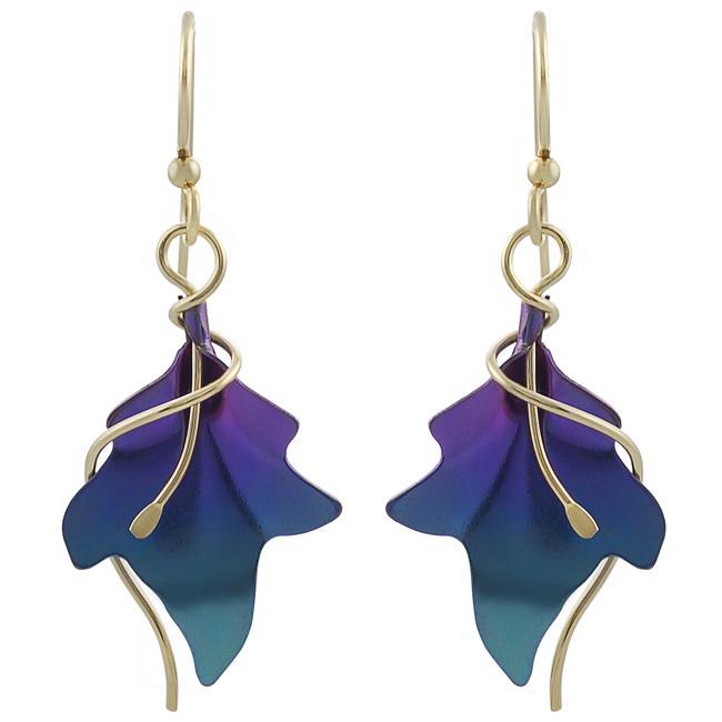 Overstock.com Goldfill Niobium Leaf Earrings at Sears.com