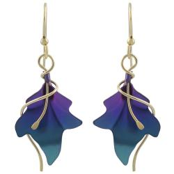 Goldfill Niobium Leaf Earrings