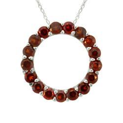 10k Gold Garnet Circle Necklace