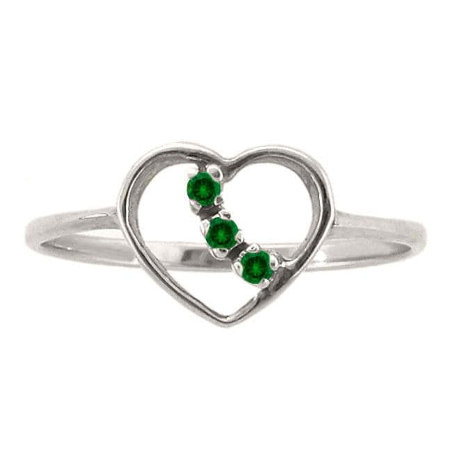 10k Gold Created Emerald 3-stone Heart Ring