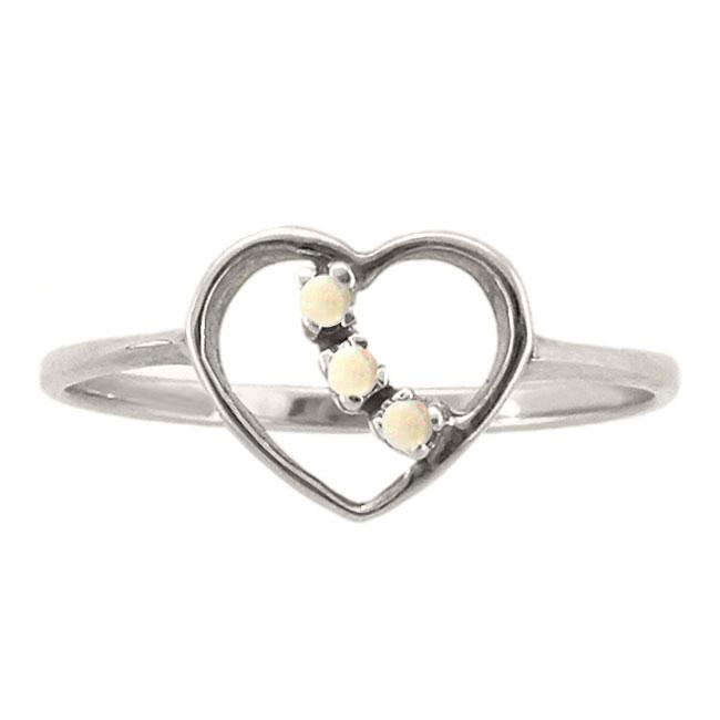 10k Gold Opal 3-stone Heart Ring