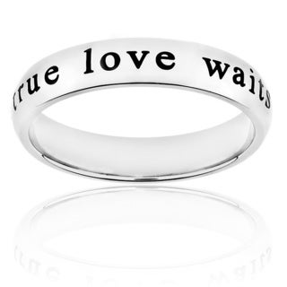Elya Designs Stainless-Steel Laser-Engraved 'True Love Waits' Ring