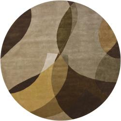 Hand-knotted Mandara New Zealand Wool Rug (7'9 Round)
