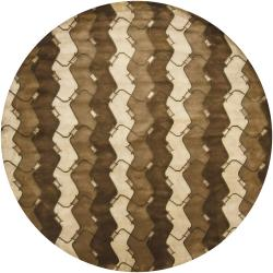 Artist's Loom Hand-knotted Contemporary Abstract Wool Rug (7'9 Round)