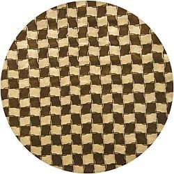 "Hand-Knotted Mandara Gold New Zealand Wool/Silk Rug (7'9"" Round)"