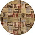 Hand-knotted Mandara Brown New Zealand Wool Rug (7'9 Round)