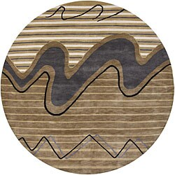 Contemporary Hand-Knotted Mandara Brown New Zealand Wool Rug (7'9 Round)