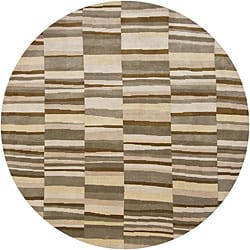 Hand-Knotted Mandara Casual Multi New Zealand Wool Rug (7'9 Round)