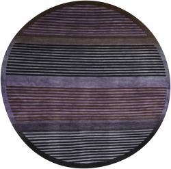 Hand-knotted Mandara Multi New Zealand Wool Rug (7'9 Round)