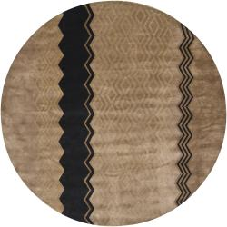Hand-Knotted Mandara Brown New Zealand Indoor Wool Rug (7'9 Round)
