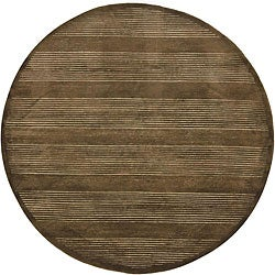 Hand-Knotted Mandara Brown New Zealand Wool Area Rug (7'9 Round)