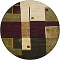 Hand-Knotted Mandara Geometric Multi New Zealand Wool Rug (7'9 Round)
