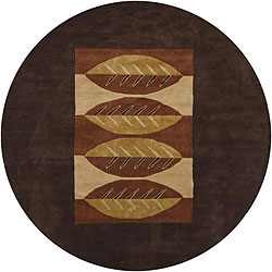 Hand-Knotted Mandara Brown New Zealand Wool Rug with Leaf Design(7'9 Round)