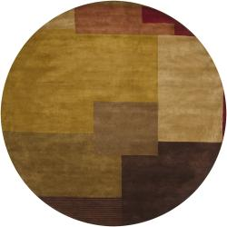 Hand-Knotted Mandara Traditional Multi New Zealand Wool Rug (7'9 Round)