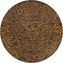 "Hand-Knotted Mandara Gold New Zealand Wool Rug with Animal Pattern (7'9"" Round)"